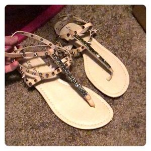 Spike/Studded Nude Sandals